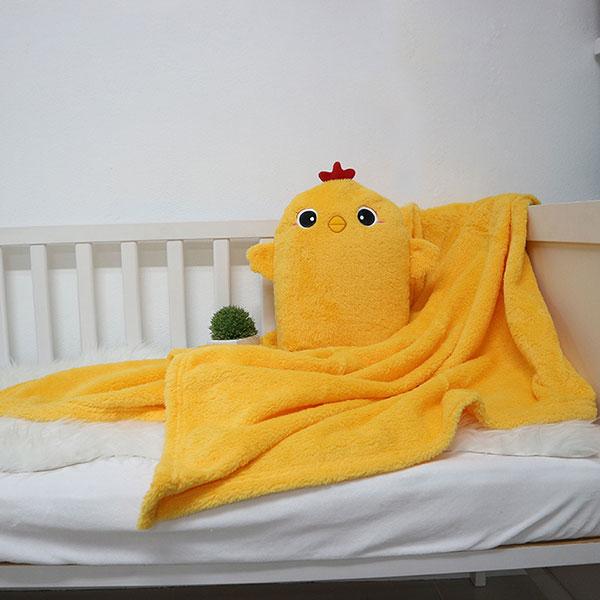 หมอนผ้าห่มสีเหลือไก่ สีเหลืองน่ารัก
