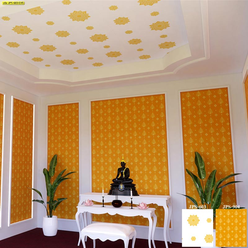วอลเปเปอร์ลายไทยเทพพนม ใช้กับห้องแสดงศิลปะ พระโขนง มีนบุรี