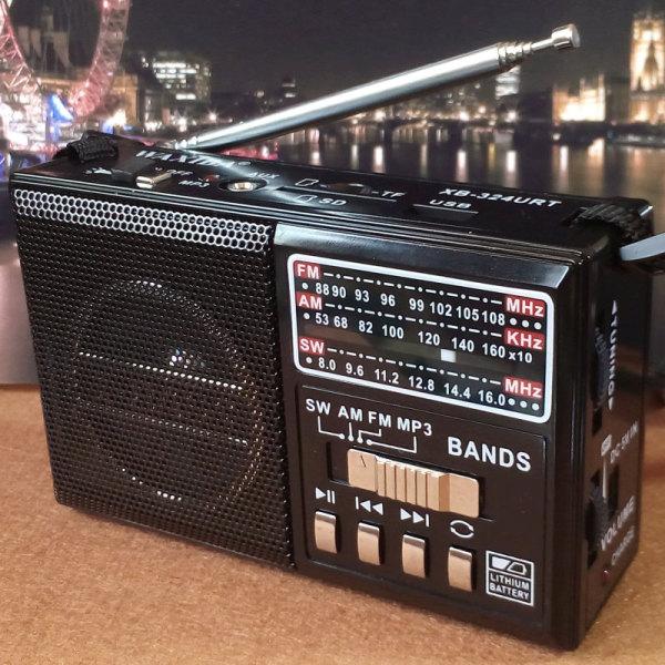 วิทยุพกพา FM AM MP3 SW สีดำ XB-324URT