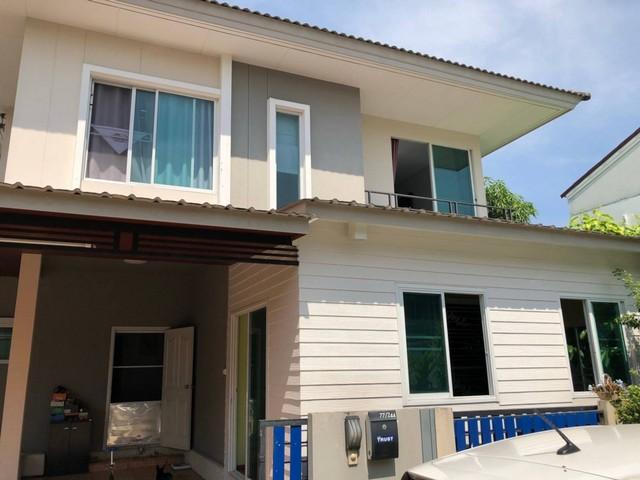 ขายบ้านแฝด เดอะ ทรัสต์ กาญจนาภิเษก บ้าน 2 ชั้น 40 ตรม. 3 นอน 2 น้ำ ต่อเติมด้านหน้า และครัว หลังมุม