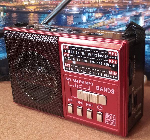 วิทยุพกพา FM AM MP3 SW สีแดง XB-324URT
