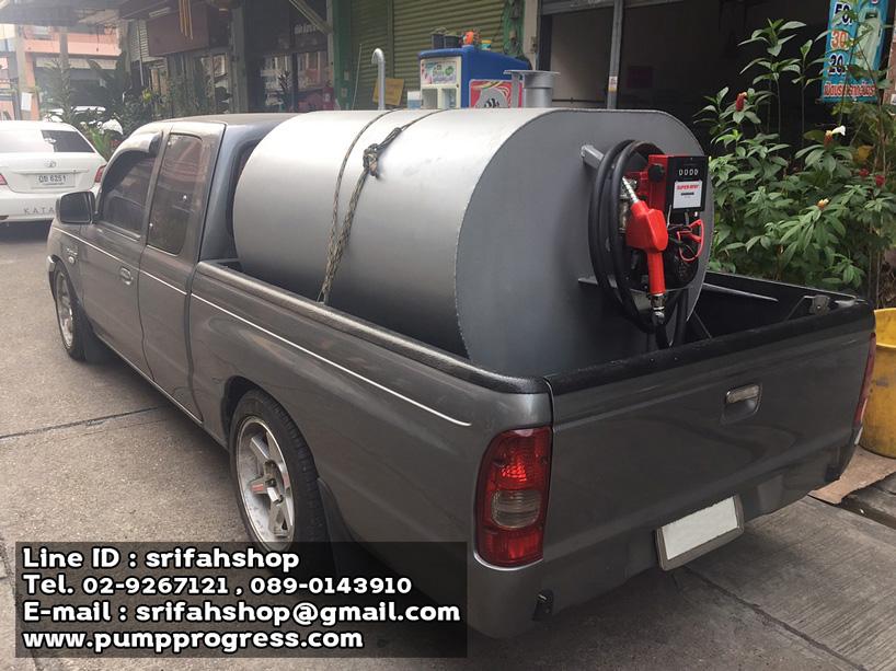 ชุดปั๊มดูดน้ำมันขนาดเล็กติดตั้งหน้าถัง ปั๊มสูบน้ำมันเคลื่อนที่ ปั๊มดูดน้ำมันพร้อมถัง 1000 ลิตร ปั๊มดูดน้ำมันพร้อมถังสำหรับใส่ท้ายรถกระบะ